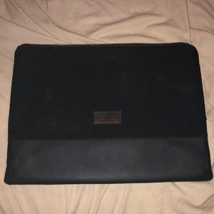 Black Canvas and Leather East Co Laptop Case